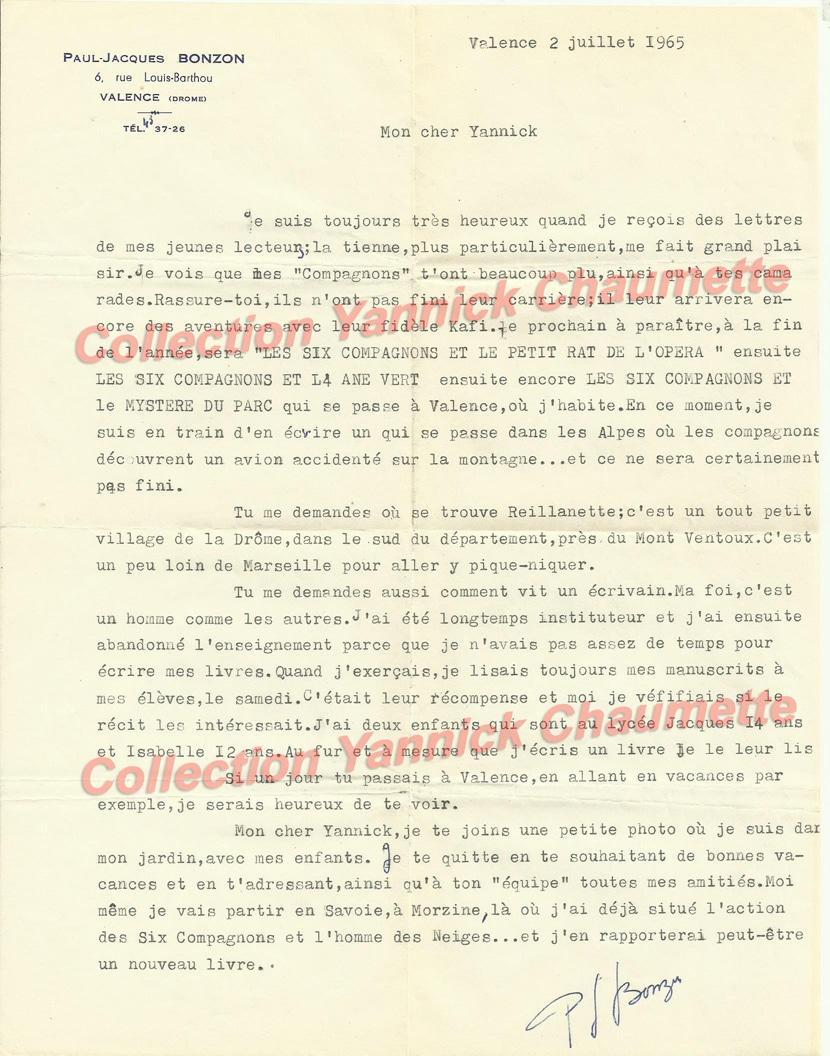 Lettre de PJB 1965